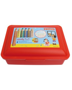 Woody 3in1 Farbstift 6er Etui Brotzeitbox
