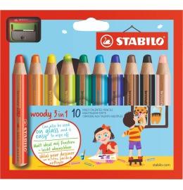 Woody 3 in 1 Farbstifte 10er Etui inkl. Spitzer