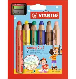 Woody 3 in 1 Farbstifte 6er Etui inkl. Spitzer