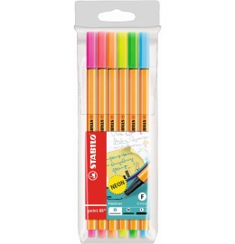 Point 88 Fineliner 6er Etui Neon