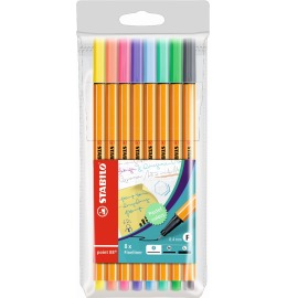Point 88 Fineliner 8er Etui Pastell
