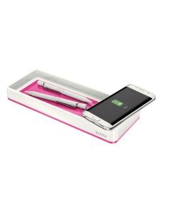 Stifteschale WOW pink metallic Qi-Ladegerät