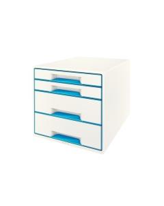 Schubladenbox WOW Cube A4 weiss/blau, 4 Schubladen