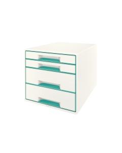 Schubladenbox WOW Cube A4 weiss/eisblau, 4 Schubladen