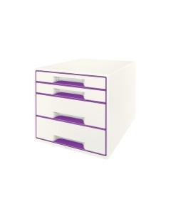 Schubladenbox WOW Cube A4 weiss/violett, 4 Schubladen