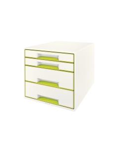 Schubladenbox WOW Cube A4 weiss/grün, 4 Schubladen