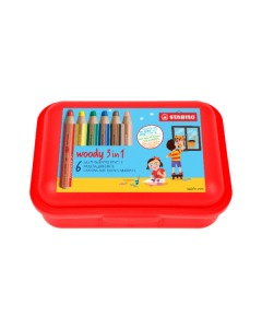Woody 3in1 Farbstift 6er Etui Brotzeitbox