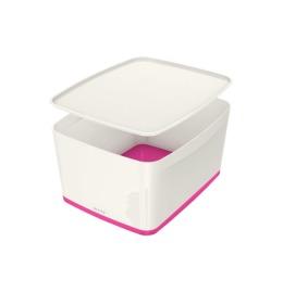 MyBox Gross, mit Deckel 18lt weiss/pink