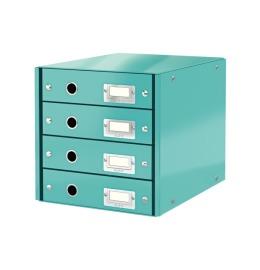Schubladenset Click & Store A4 eisblau 4 Schubladen