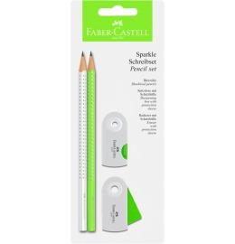 Schreibset Sparkle neon-grün/weiss