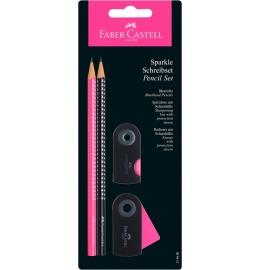 Schreibset Sparkle schwarz/pink