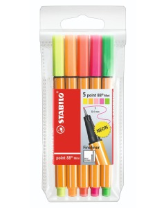 Point 88 MINI Fineliner 5er Etui NEON