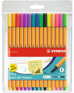 Point 88 Fineliner 15er Etui Standard/Neon