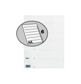 Register Karton weiss A4 6-teilig, blanko
