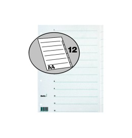 Register Karton weiss A4 12-teilig, blanko