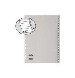 Register PP grau A4 20-teilig blanko