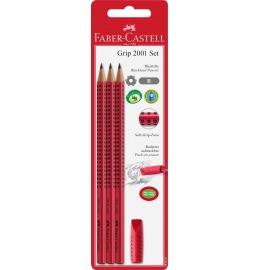 Bleistift-Set GRIP rot Eraser Cap