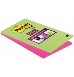 Block Super Sticky 125x200mm grün/pink, 2x45 Blatt, liniert