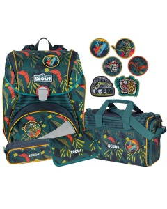 Schulthek-Set Alpha Jungle 4-teilig+6 Stickys