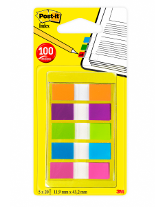 Index schmal 11.9x43.2mm 5-farbig ass./5x20 Blatt grün, lila, rosa, gelb, blau