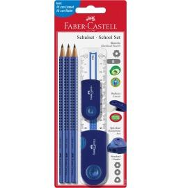 Bleistift-Set GRIP Sleeve Set blau m/Lineal