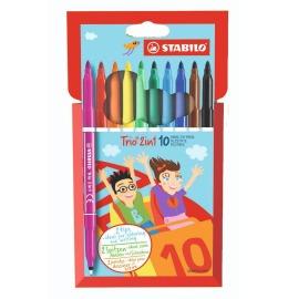 TRIO 2in1, Twin Pen Etui, 10 Farben