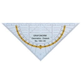 Geodreieck 45/16 cm transparent