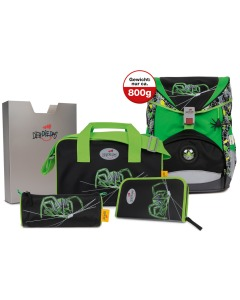Schulthek-Set Ergoflex Green Spider 5-teiliges