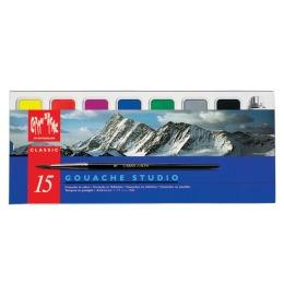 Gouache Studio Wasserfarben 14 Farben, 1 x weiß + Pinsel