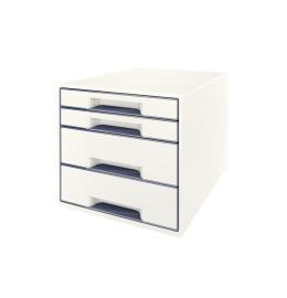 Schubladenbox WOW Cube A4 weiss/grau, 4 Schubladen