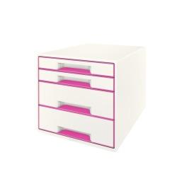 Schubladenbox WOW Cube A4 weiss/pink, 4 Schubladen