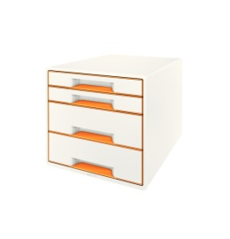 Schubladenbox WOW Cube A4 weiss/orange, 4 Schubladen