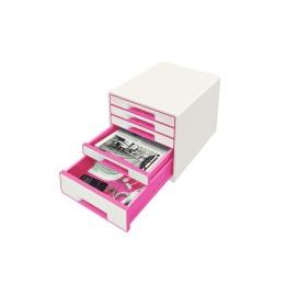 Schubladenbox WOW Cube A4 weiss/pink, 5 Schubladen