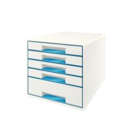 Schubladenbox WOW Cube A4 weiss/blau, 5 Schubladen