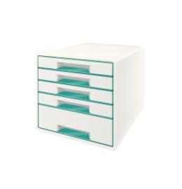 Schubladenbox WOW Cube A4 weiss/eisblau, 5 Schubladen