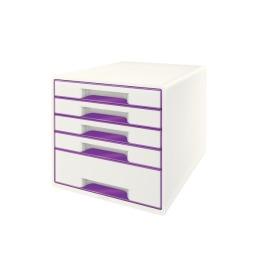 Schubladenbox WOW Cube A4 weiss/violett, 5 Schubladen