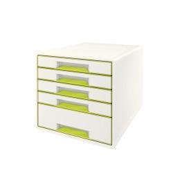 Schubladenbox WOW Cube A4 weiss/grün, 5 Schubladen